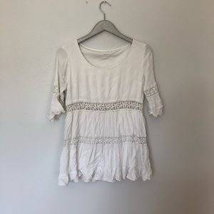 Tea & Cup White Gauzy Tiered Tunic Dress Size L